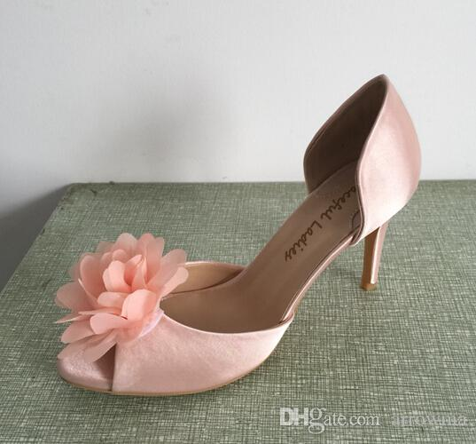 Pale Pink Satin Wedding Shoes Handmade Pumps Silk Rose Leather Sole Comfortable Toe 3 Low Wrapped Heels Women Sandals Dance Wedge