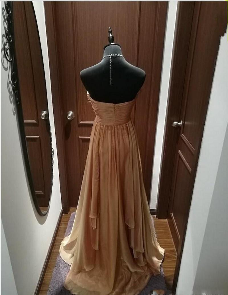 2020 Fall New Designer Gold Off Shoulder Aline Chiffon Long Special Occasion Dress Evening Dress Prom Dress With Diamonds and Beads 174