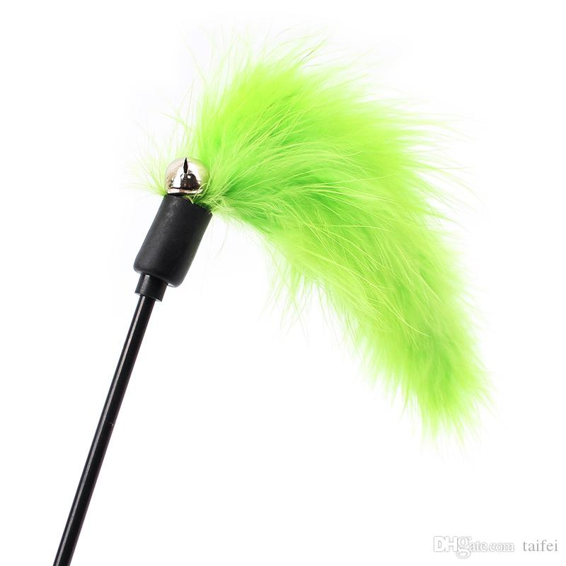 41CM Wholesale Cat Kitten Pet Teaser Turkey Feather Interactive Fun Stick Toy With Pretty Bell Wire Chaser Wand