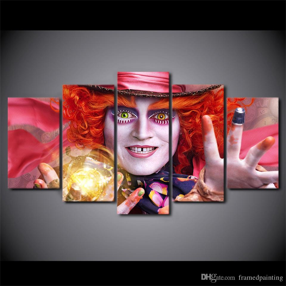 5 Panel Framed HD Printed Alice In Wonderland Hat Large Poster Canvas Oil Painting Wall Pictures For Living Room