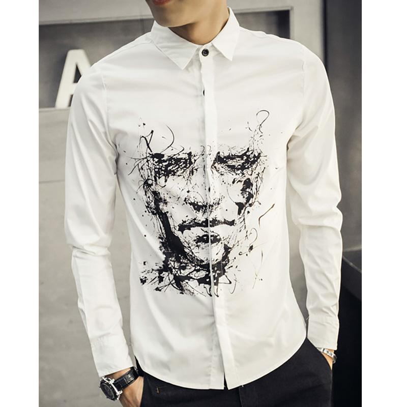d0962ec4f5f8a7 2019 Wholesale 3D Printed Shirts Men Long Sleeve Slim Fit Cotton Hand  Painted White Shirts Men S Avatar Character Casual Shirts Plus Size 5XL  From Xiatian7