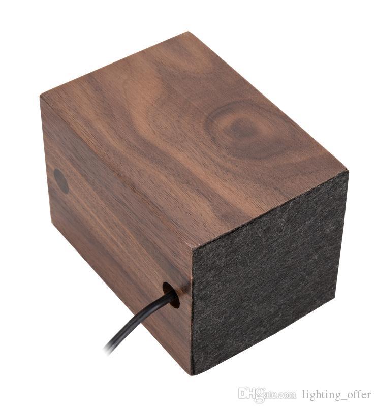 Настольные светильники из черного ореха круглые деревянные творческая личность ретро-ностальгия настольная лампа фары E27 светодиодная лампа