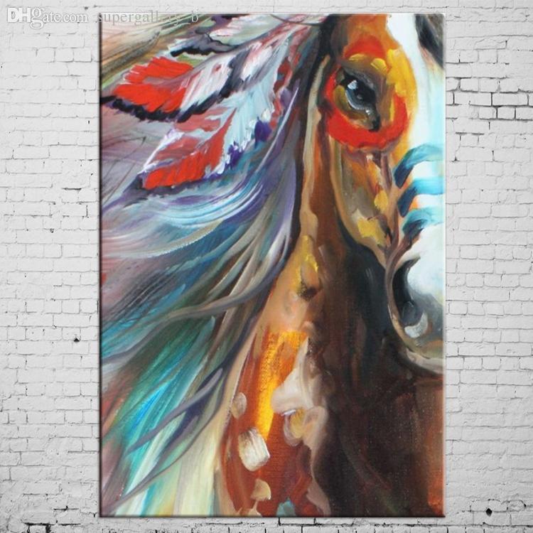 2018 Framed Indian Horse,Handpainted Modern Abstract Animals Art Oil ...