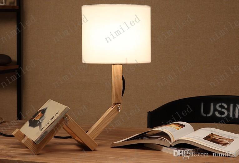 nimi691 Moderne En Bois Lampes Man Shade Table Lumières Pour La Chambre Salon Salle D'étude Tissu Abat-jour De Robot En Bois Pliant Éclairage de Bureau