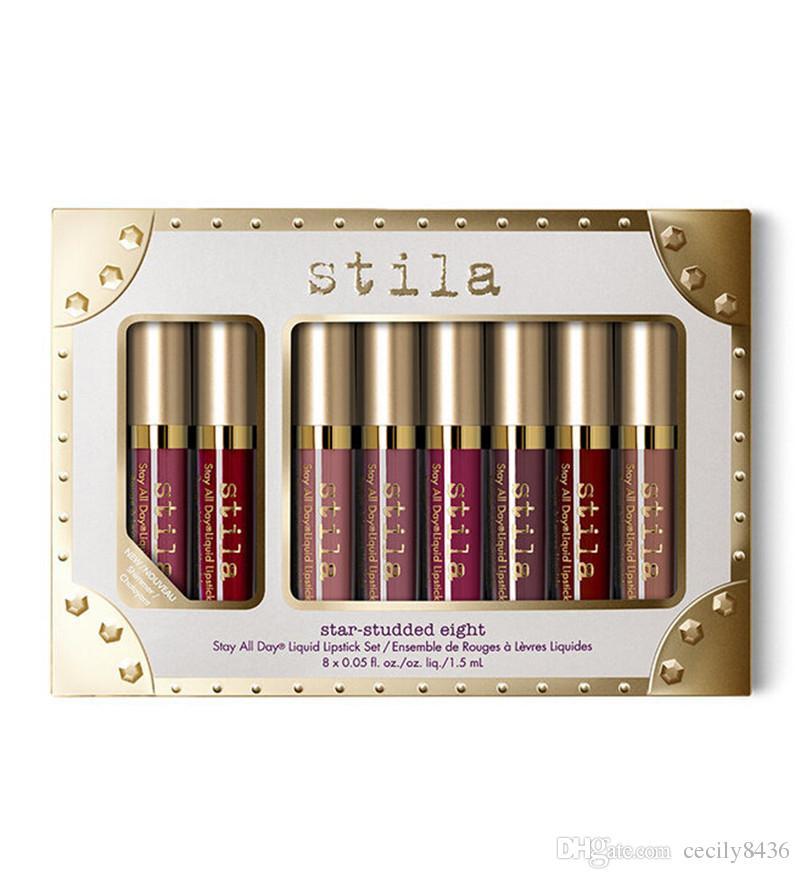 Star-studded Eight Stay All Days Liquid Lipstick set / box Long Lasting Creamy Shimmer Liquid Lipstick Lip Gloss