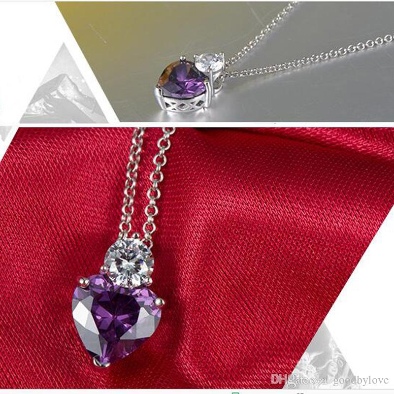18K White Gold Plated Purple Amethyst Cubic Zirconia CZ Heart Chain Pendant Necklace Fashion Jewelry for Women Girls