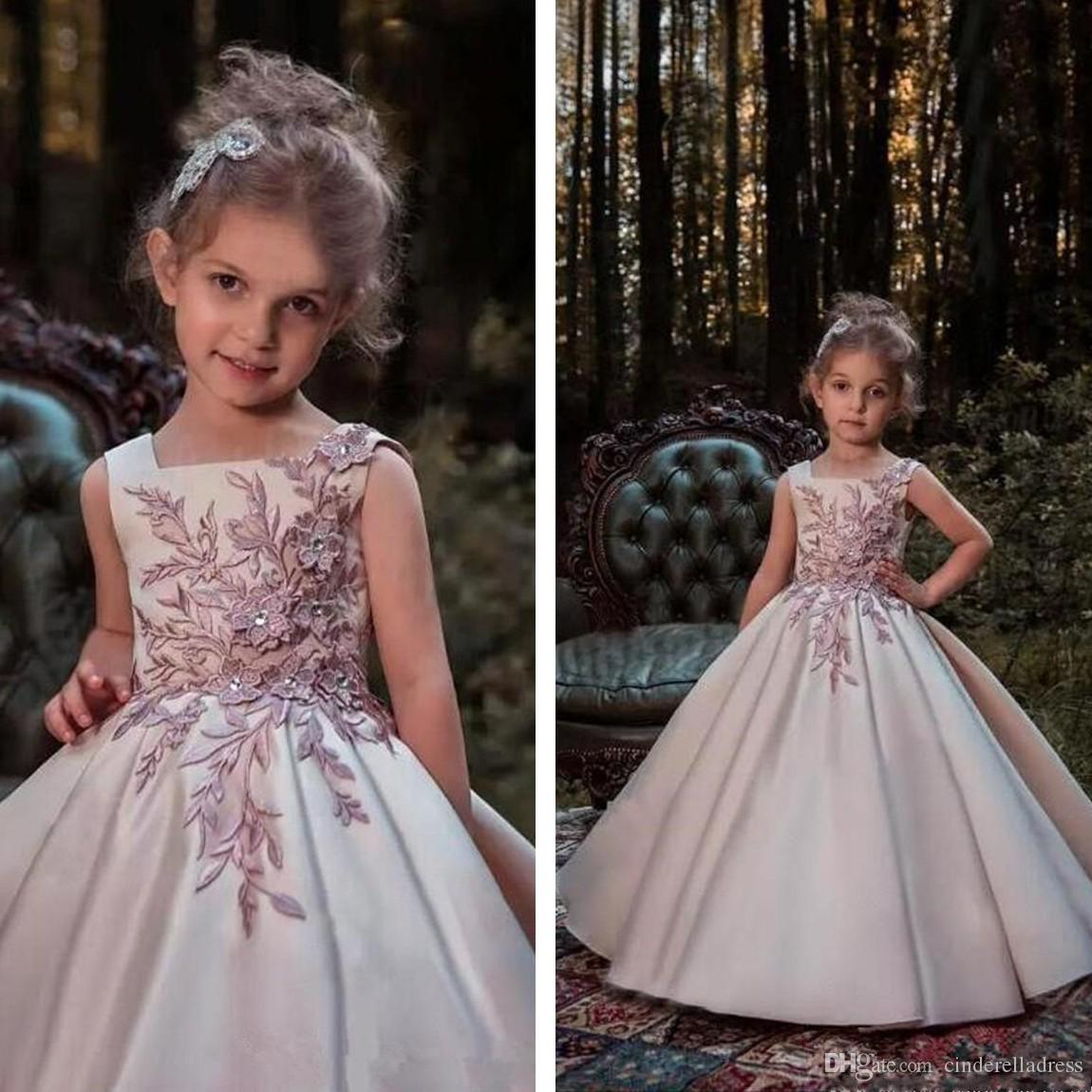 2018 Blush Pink Princess Flower Girl Dresses 2018 Lace Applique ...
