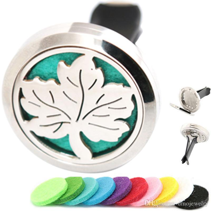 New Maple Leaf Aromatherapy Essential Oil surgical 30mm Stainless Steel Pendant Perfume Diffuser Car Locket Include 50pcs Felt Pads