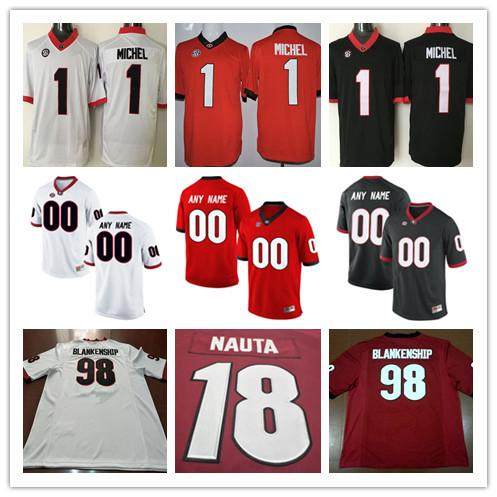 256e50421 2019 Cheap Georgia Bulldogs College Football 1 Sony Michel 18 Isaac Nauta  98 Rodrigo Blankenship White Black Red Stitched Personalized Jerseys From  Fanatics ...