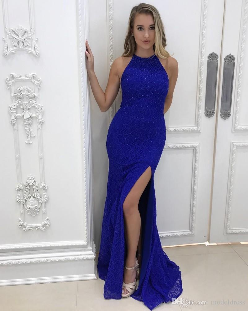 Royal Blue Split Prom Dresses 2018 Halter Neckline Mermaid Pearls High Slit Modest Sexy Lace Evening Party Pageant Gowns Cheap Custom Made