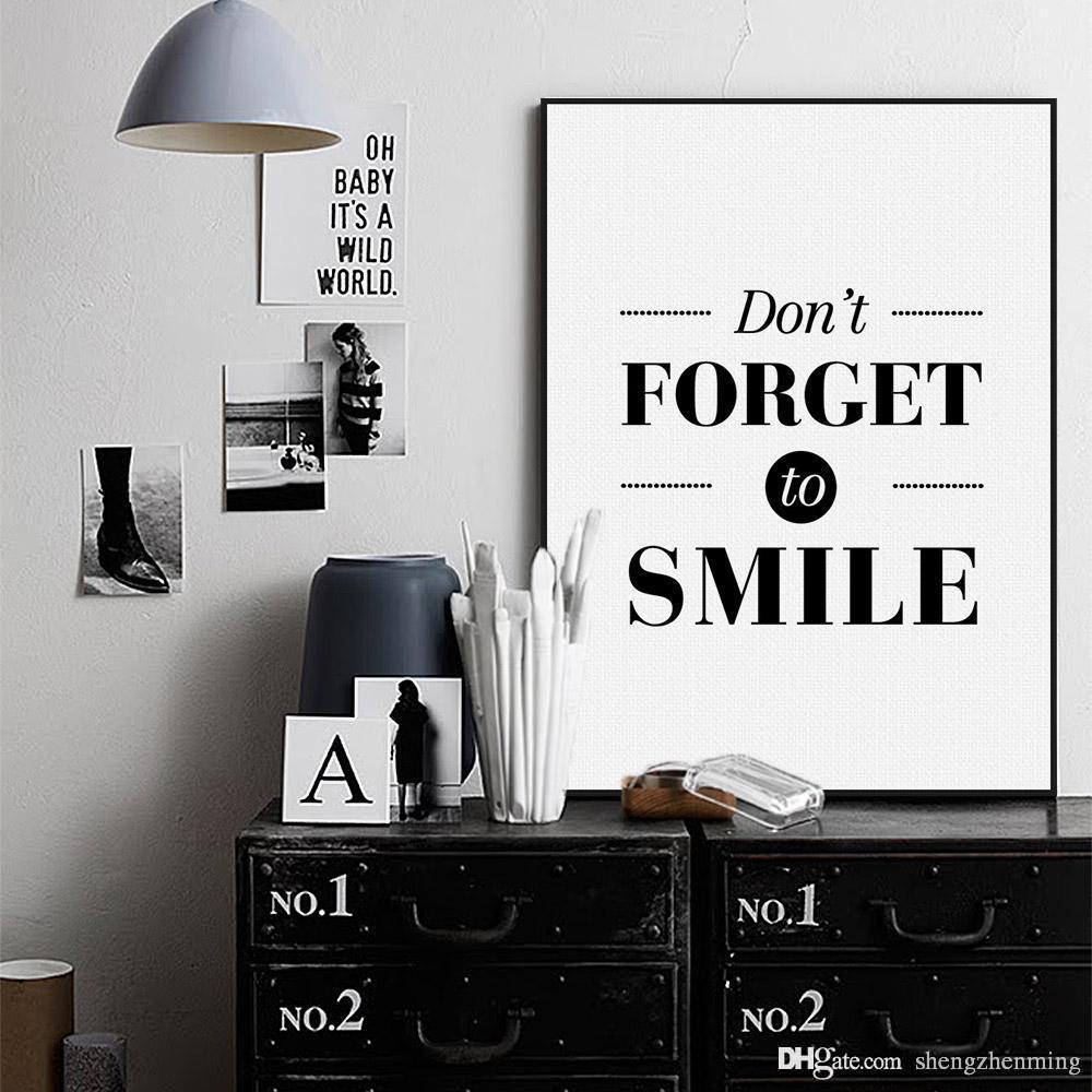 Nordic Black White Minimalist Motivational Typography Smile Quotes