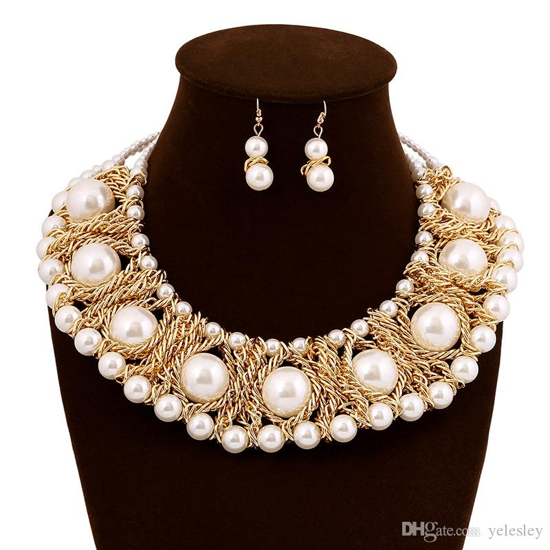 New Jewelry Sets Simulated Pearl Female Fashion Evening Gown With Jewelry Cavicle Necklace Earrings Luxury Suite