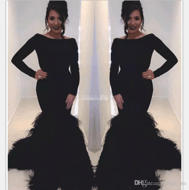 Black Long Sleeves Evening Dresses Scoop Feather Luxury Mermaid Prom Dress Long Zipper Back Formal Party Dress Women Wear