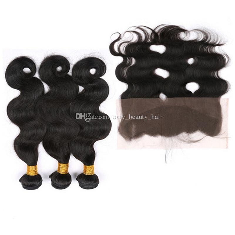 Lace Frontal Closure With Bundles Cheap 9A Mink Wet and Wavy Raw Indian Body Wave Human Hair Weaves With Full Lace Frontal