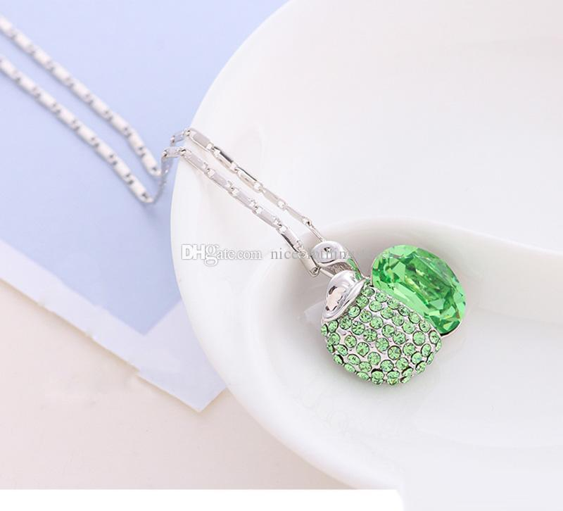 new Fashion apple Shaped Pendants Necklaces Crystals From Austria Romantic Collars For Girlfriend Mum gifts fruit pendant necklace