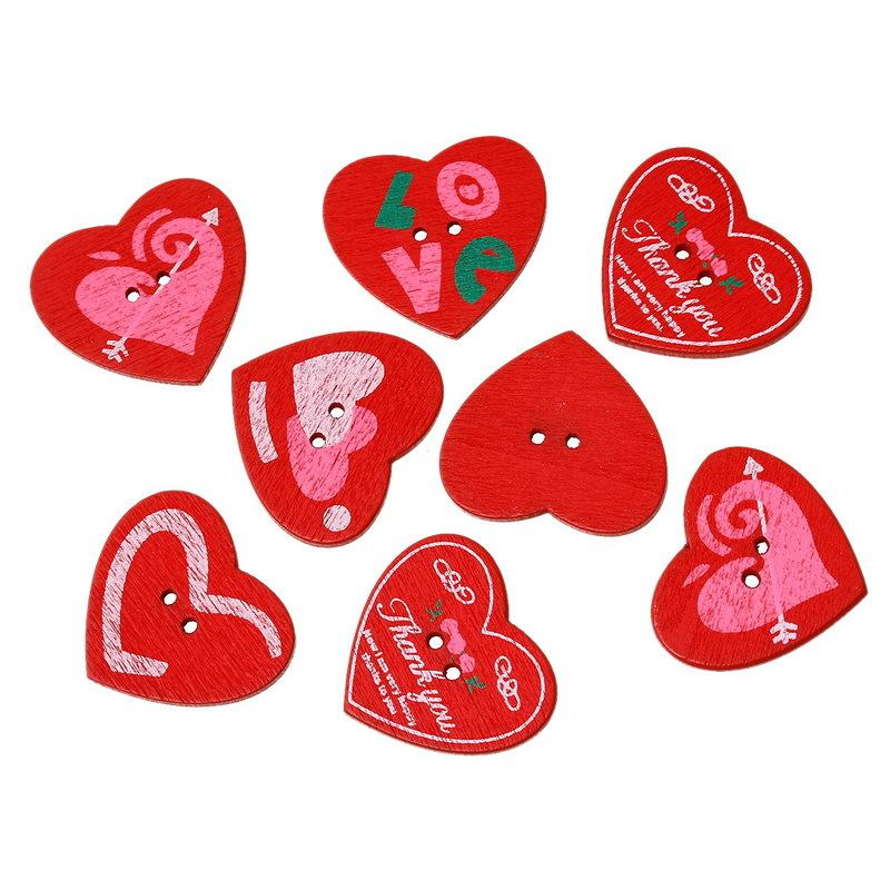 Wholesale Acces Random Red Heart-shaped Wooden Buttons 3x2 7cm-50pcs Double  Bottom DIY Costumes Button Sewing Wood Buttons