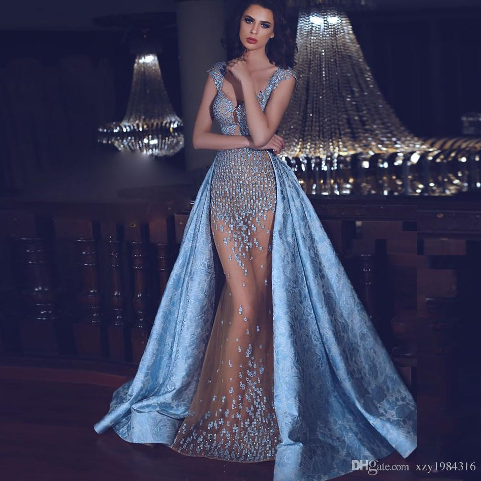 Glamorous Beaded Applique Evening Gown With Over Skirt Deep V Neck ...