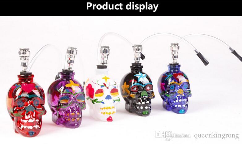 A todo color del cráneo Bongs de vidrio Bongs de agua Pipa de agua Cachimba de fumar Fumar pipas de tabaco Filtro Punk Fantasma Cabeza Esqueleto En forma de plataformas