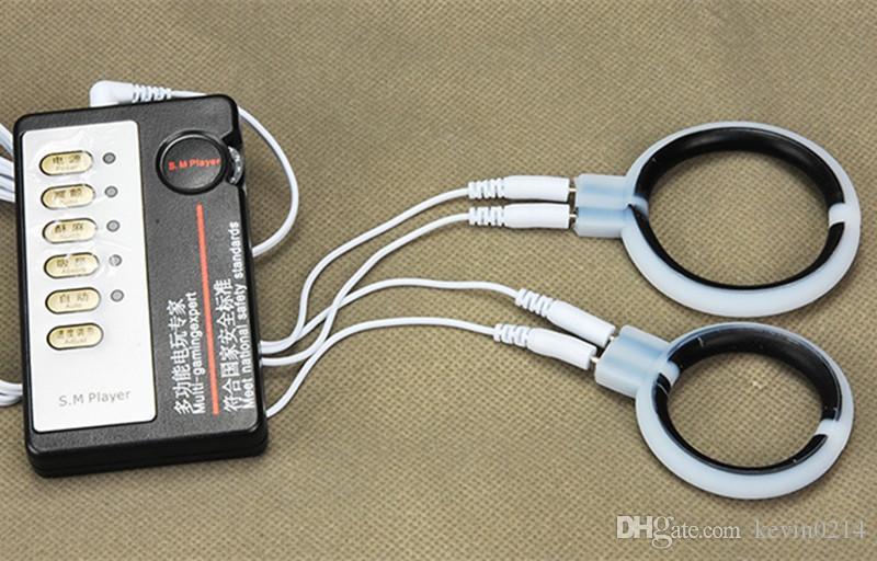 Silicone Électrocution 40mm 50mm Pénis Anneau Retard Ejaculation Cockring Pouls Physiothérapie Dysfonction Érectile Pour Hommes A21