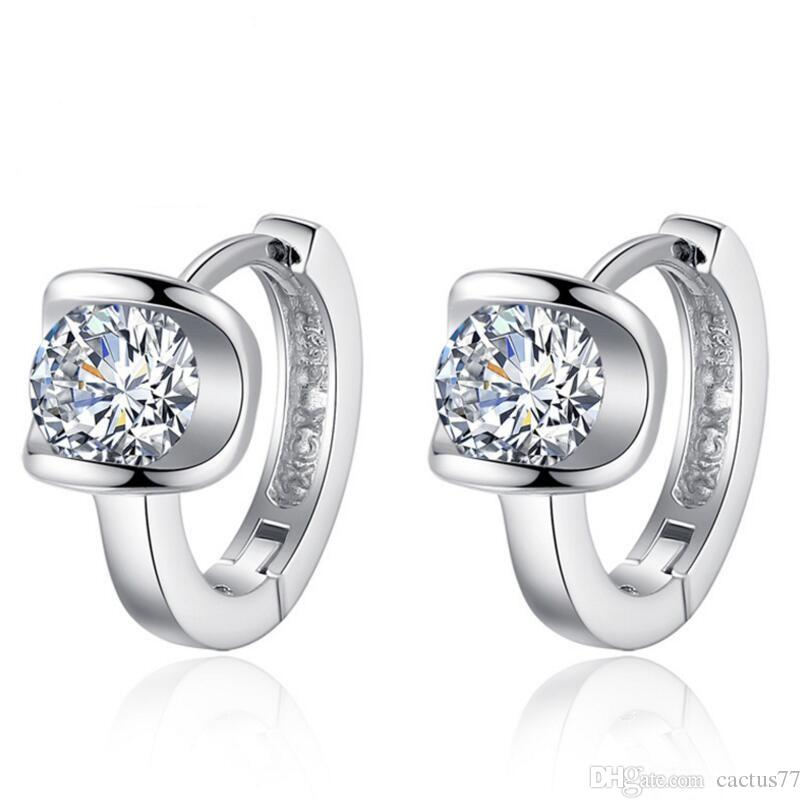 Earrings Promotion Hot Sell Shiny Cz Zircon Silver Plated Fashion Snowflake Ladies`stud Earrings Jewelry Anti-allergic Drop Shipping