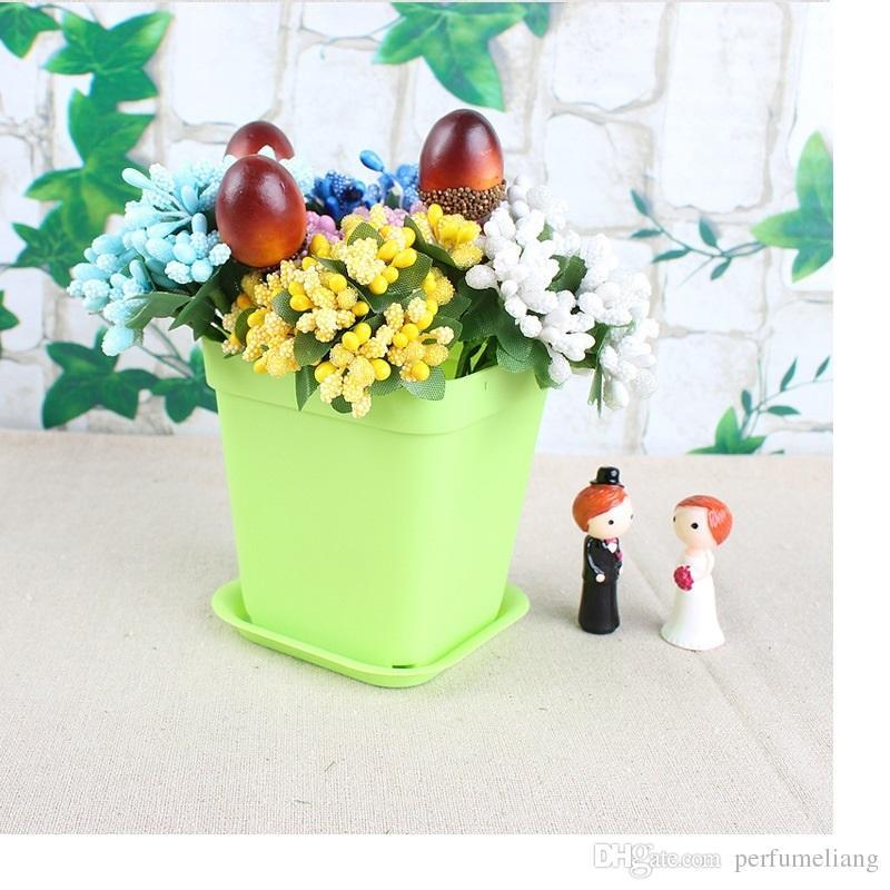 300 ensembles Bonsai Planters En Plastique Table Mini Succulentes Plant Pots et Assiette Jardinage Vase Carré Pot De Fleur Coloré WA0586