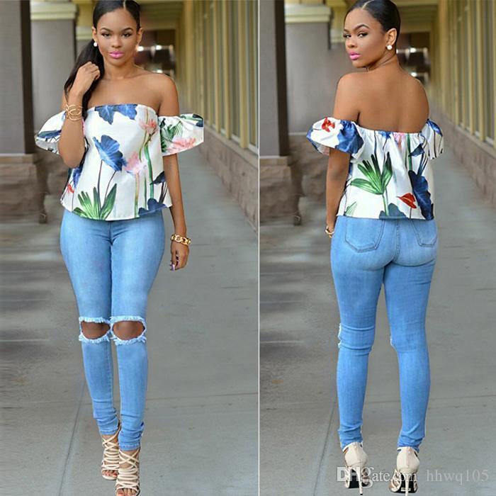 92d0809d7 النساء نحيل عالية الخصر الجينز السيدات دمرت ممزق الدينيم جينز طماق الربيع  الصيف الأزرق جان عارضة السراويل BSF0328