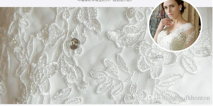 Designer Vintage Dentelle Robes De Mariée V col Long Manches Pas Cher Paillettes Perlée Plage Dos Nu Robes De Mariée 2016 nouveau HT112