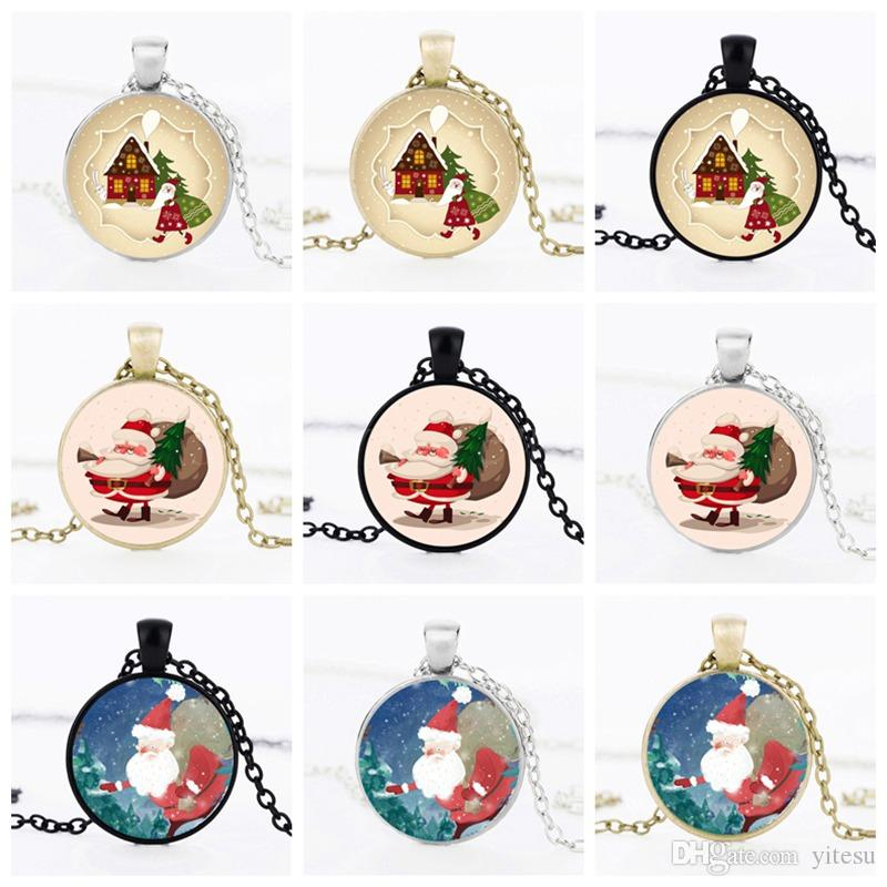 Best Christmas Gifts Jewelry Santa Claus Art Photo Kids Necklace Pendant Time Gem Glass Cabochon Necklace Chain Accessories For Child