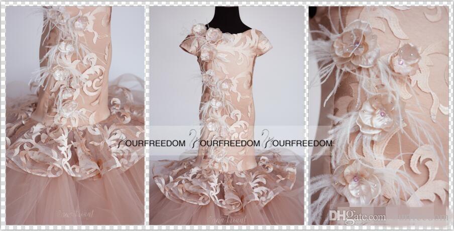 2019 Custom Custom Mermaid Flower Girl Girls Robes Appliques Feather Cute Litiser Girls Robe de Pageant pour Wedding Custom Moderne Mode