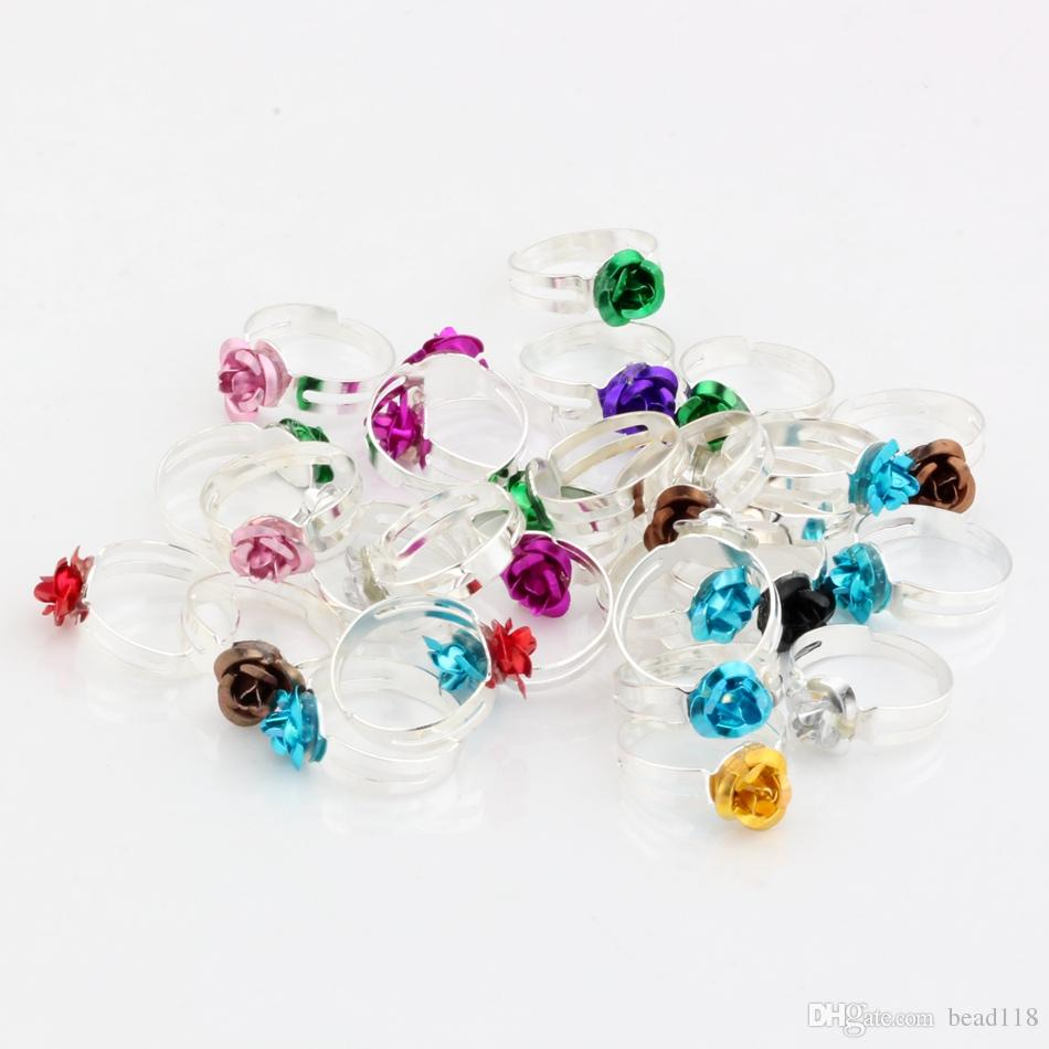Heet ! 200 stks / partijen mix kleur rose bloem verse ringen resizable diy accessoires meisjes ringen plated zilver