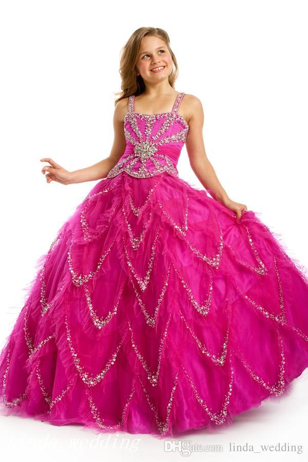 Сахар Fuschia бисера девушки Pageant платья принцесса бальное платье кекс платье для молодые короткие девушке красивое платье для маленького ребенка