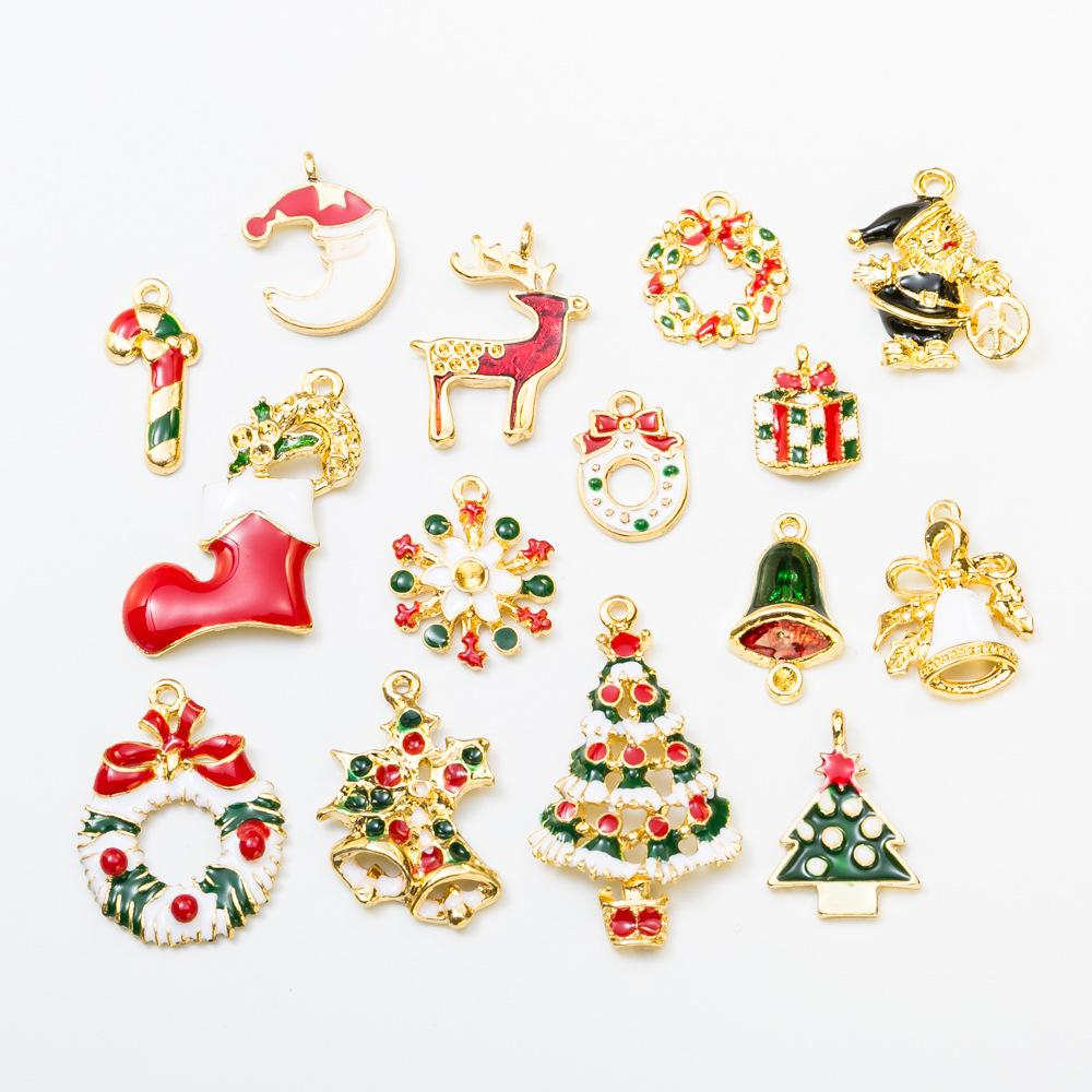 hot sales diy pandora charms gold christmas element charm jewelry accessory kind of small pendant diy bead bracelet 0020 diy bracelet pandora charms - Christmas Charms