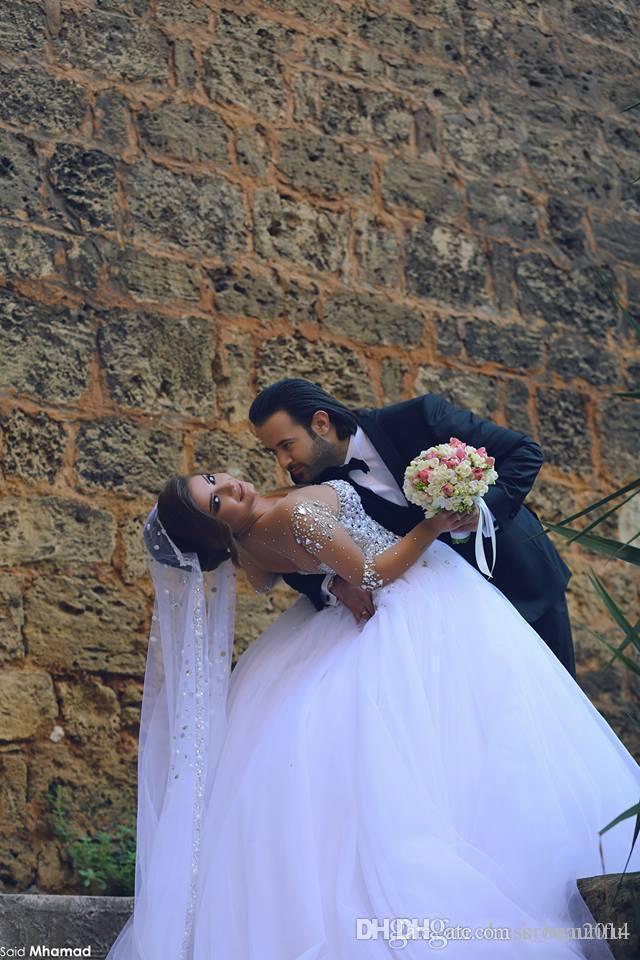 Designer cristalli di lusso maniche a maniche lunghe abiti da sposa abiti da sposa strass strass lace-up posteriore arabo abito da sposa con scollo arabo vestidos de novia