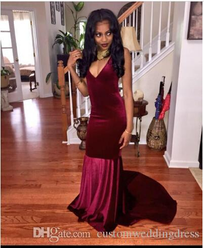 Unique Designer Burgundy Mermaid Prom gown Flattered Fitted Red Wine Velvet Elegant Party Gowns 2018 evening dress