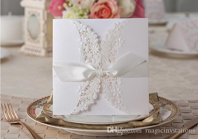 Floral Embossed Wedding Invitation Laser Cut Wedding Invite With