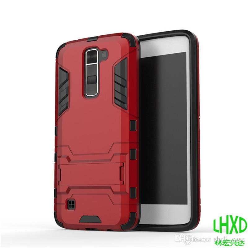 Slim armor case 4 IN 1 iron man shockproof kickstand tpu+pc back cover with stand holder for LG K5 k7 k10 g4 g5 v10 free DHL
