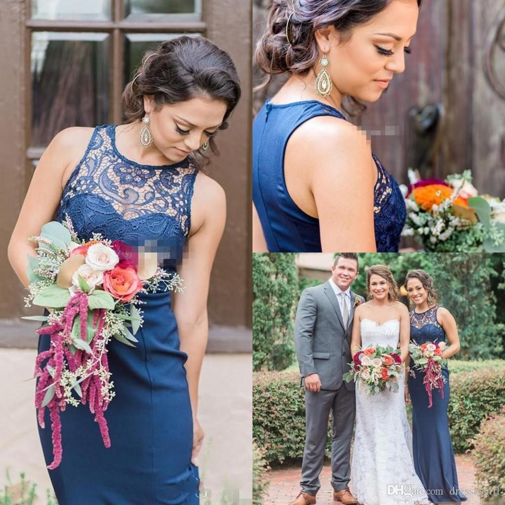 Vintage country bridesmaid dresses navy blue lace o neck sheath vintage country bridesmaid dresses navy blue lace o neck sheath satin 2017 cheap maid of honor dress evening formal gowns custom made cerise pink bridesmaid ombrellifo Image collections