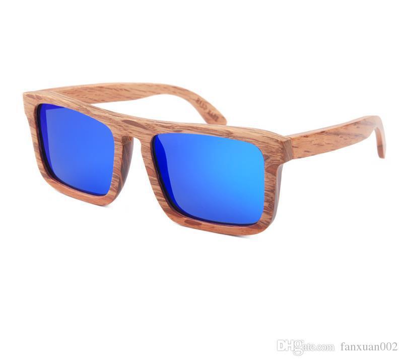 Großhandel Quadratische Rahmen Holz Sonnenbrille Männer Gespiegelt ...