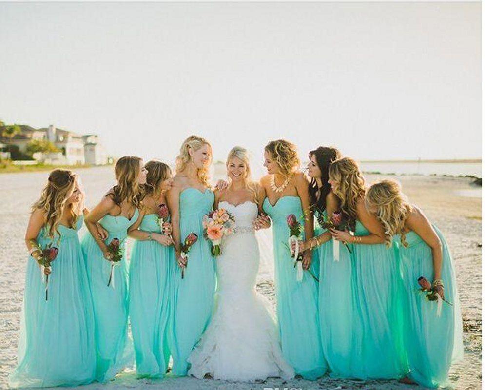 Beach abiti da sposa vestito da partito del turchese di nuovo arrivo con una linea Ruffle Sweetheart collo zip sul retro floor-lunghezza Chiffon vendita poco costosa