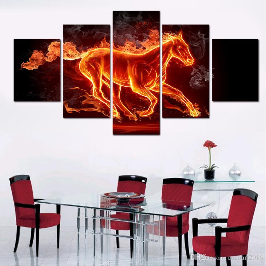 5 панелей искусства холст картины стены искусства холст картины для гостиной стены Cuadros сжигание лошадь холст печать фото