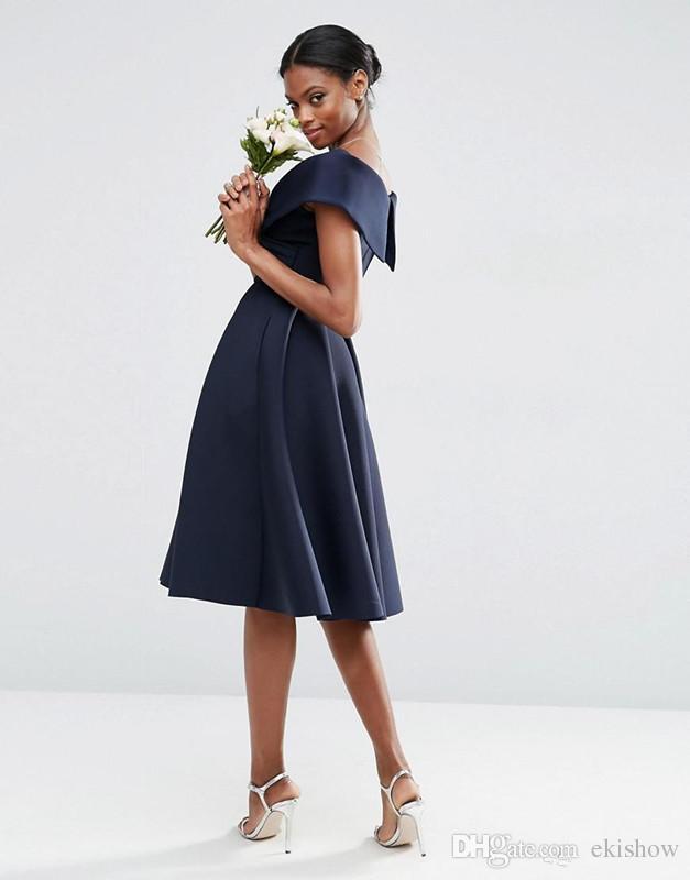2018 Vintage Satin Navy Blue Off the Shoulder Bridesmaid Dresses Tea Length Bridesmaid Prom Gowns Wedding Party Vestidos Custom Made