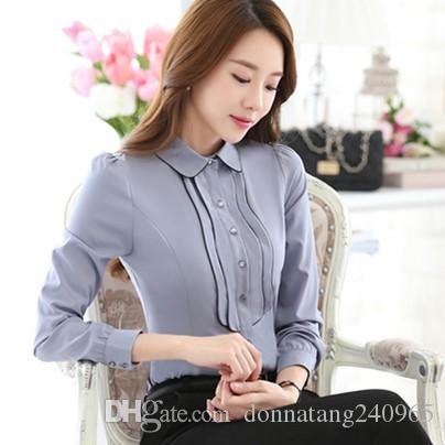 a387f31a8f0 2019 Fashion Korean Style Business Office Shirts Contrast Patchwork Long  Sleeve Shirt Women Blouses Button Tops Blusa Feminina From Donnatang240965