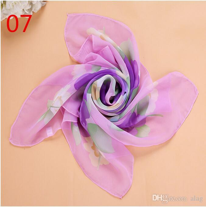 New 65*65cm Small Square Scarves Pure Silk Chiffon Solid Color Dance Show New Candy-colored Windproof Women Scarves NMM37