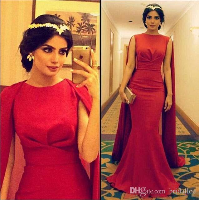2016 сексуальный арабский красный длинные выпускного вечера мусульманские вечерние платья с накидкой атласная русалка вечерние платья выпускного вечера