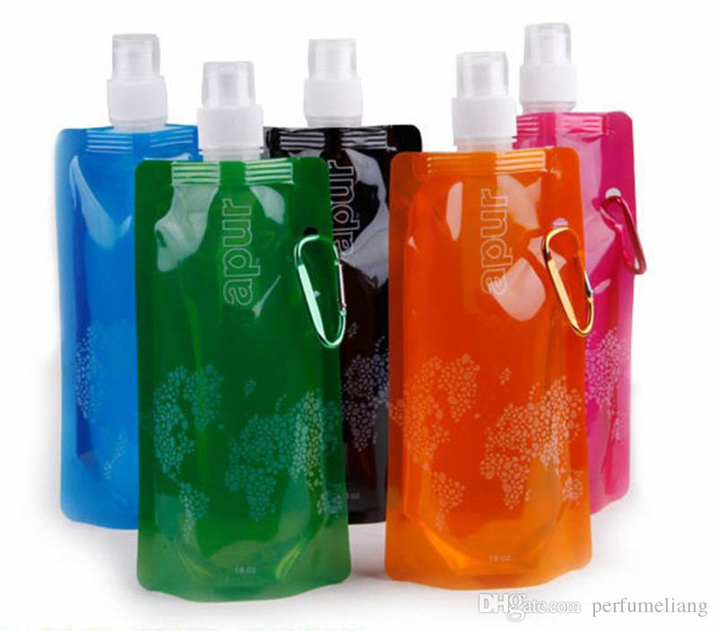 Mixed color Water Bottle Comes Flat, Foldable Water Bottle Collapsible 0.48 Litres Anti-Bottle JF-46
