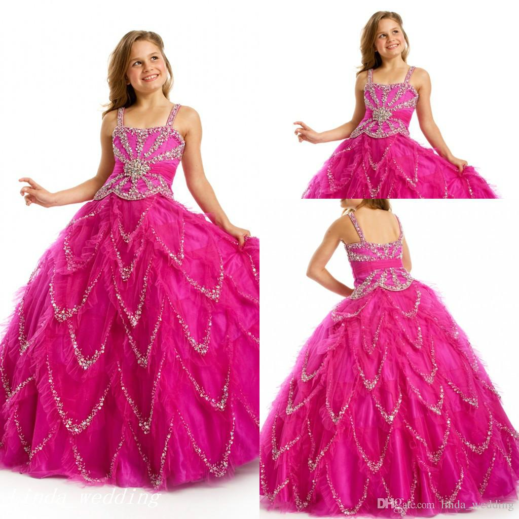 Sugar Fuschia Beaded Girl\'S Pageant Dress Princess Ball Gown Party ...