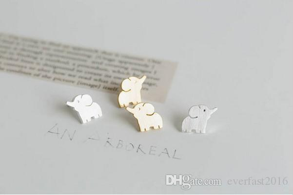 Korean Style of Cute Elephant Ear Stud Lovely Animal Earrings 18K Gold Silver Rose Gold Plated Fashion Jewelry Pendientes Mujjer Moda