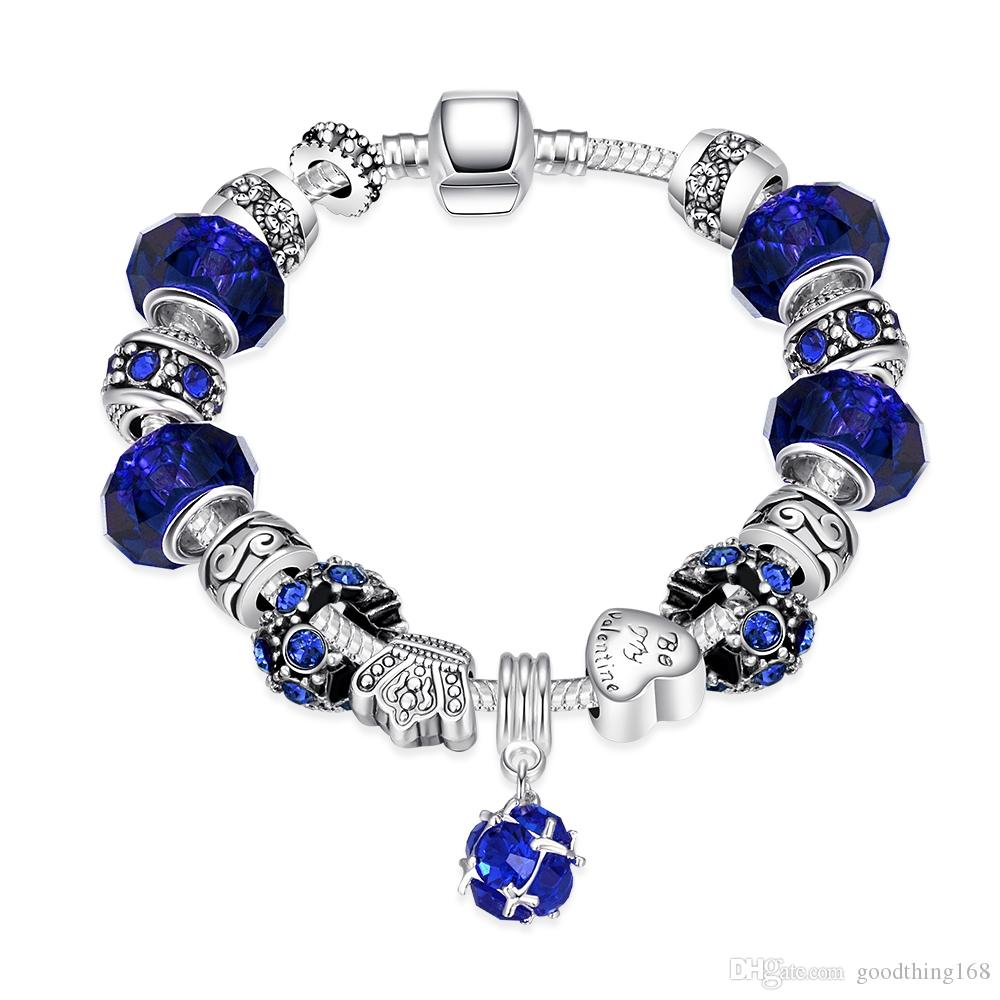 2053ab0a9 ... order fashion charm blue zircon silver plated bracelets european charm  snake chain carved diy beads fits