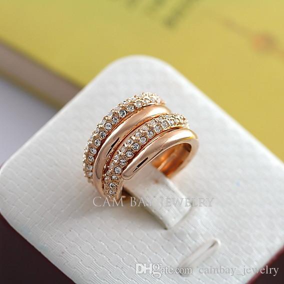 Мульти-слои обернутые широкий Fingerband 18K розовое золото покрытием кольцо полированные и одно кольцо горный хрусталь инкрустация белого золота покрытием палец кольцо набор