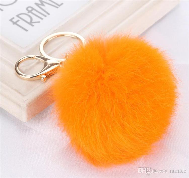 100 قطع 20 ألوان جميلة 8 سنتيمتر جلد طبيعي الأرنب الفراء الكرة أفخم مفتاح سلسلة ل مفتاح السيارة حلقة حقيبة قلادة سيارة المفاتيح